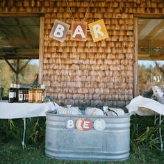 handmade | rustic wedding bar | i love farm weddings