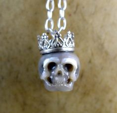 READY TO SHIP  Grey Hand Carved Pearl Skull by ArloEdgeWalker