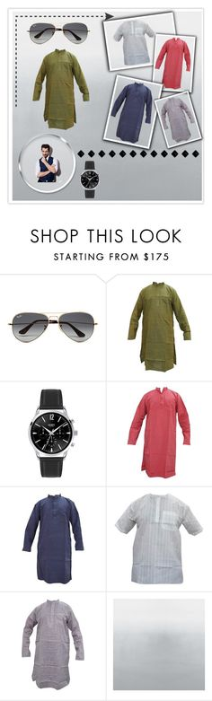 """""""MEN'S ETHNIC FASHION"""" by globaltrendzs-flipkart ❤ liked on Polyvore featuring Ray-Ban, men's fashion and menswear"""