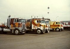 Cabover Pete's & KW's at the Amoco Truckstop, circa 1970's.