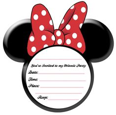 Free Minnie Mouse Ears Printable Invitation plus other Minnie Party ideas and printables
