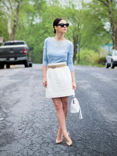 4. Serenity Blue Sweater With White Skirt 2017 Street Style