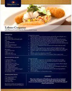 Disney Cruise Lines Recipe for Lobster Croquetas with Banana Lentil Salad & Horseradish Cream Restaurant Recipes, Seafood Recipes, Vegetarian Recipes, Cooking Recipes, Disney Inspired Food, Disney Food, Disney Recipes, Disney Dishes, Food Park