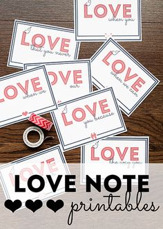 February isn't the only month for spreading the love! Today, Anne has free love note printables that you can use for September's Love Note Day, on the Valentines Date Ideas, Valentine Day Love, Love Notes For Her, Thoughtful Gifts For Her, Different Holidays, Happy Together, When You Love, Sentimental Gifts, Note Paper