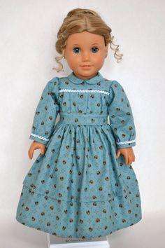 American Girl 18 Inch Doll Dress Historical Prairie Civil War - Teal Blue