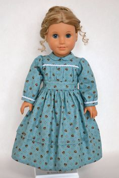 American Girl 18 Inch Doll Dress Historical Prairie Civil War - Teal Blue