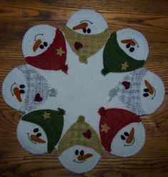 """Snow Faces"" Wool Candle Mat Pattern-wool, wool felt, wool felt, candle mat, penny rug, christmas, holiday, snowmen, snow"