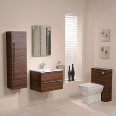 600 Walnut Back To Wall Square Toilet & Wall Hung Basin Bathroom Furniture Suite Wall Hung Bathroom Cabinet, Wall Hung Vanity, Wooden Bathroom, Bathroom Ideas, Loft Bathroom, Bathroom Marble, Wall Cabinets, Bathroom Cabinets, Bathroom Inspiration
