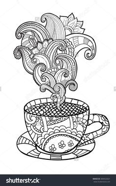 Coffee Or Tea Cup Zentangle Style Coloring Page 384922021 : Shutterstock