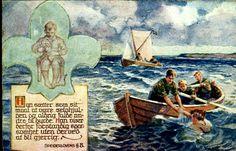 Speiderkort DAHL, KARL. Speidere øver på redning til sjøs Utg Mittet Stemplet 1923