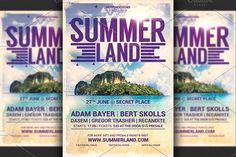Summer Land Party Flyer by Hotpin on @creativemarket