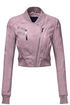 Sexy Faux Leather Zip Up Long Sleeve Moto Crop Jackets, Small, Pink Purple Leather Jacket, Leather Sleeve Jacket, Leather Jacket Outfits, Purple Jacket, Leather Jackets, Pink Leather, Blazer Jacket, Dressy Jackets, Clothes 2019