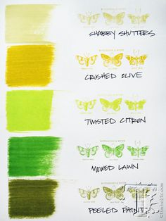 Tim Holtz / Ranger distress inks - GREENS comparison: Shabby Shutters, Crushed Olive, Twisted Citron, Mowed Lawn, and Peeled Paint Encre Distress Ink, Tim Holtz Distress Ink, Distress Markers, Distress Oxide Ink, Druckfarben Im Distress-look, Distress Ink Techniques, Tim Holtz Stamps, Ranger Ink, Collor