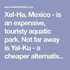 Xel-Ha, Mexico - is an expensive, touristy aquatic park. Not far away is Yal-Ku - a cheaper alternative, with some of the best snorkelling in the country! Here's why you
