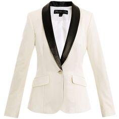 Elizabeth And James Rex leather-lapel tuxedo jacket ($604) ❤ liked on Polyvore