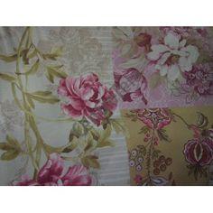 Loneta con estampación tipo patchwork en camel rosa empolvado.  www.centrotela.es