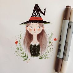 """A little witch drawing for @alisavysochina , for a Valentine's gift exchange I participated in! """