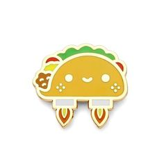 """Explore the cosmos with the space taco kawaii lapel pin! - 1"""" x .8"""" - Hard enamel - Rubber clutch backing"""