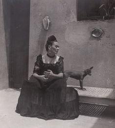 Frida Kahlo (1907-1954, Mexican) seated with dog, circa 1944. Lola Alvarez Bravo/Courtesy of Artisphere
