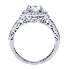 14k White Gold Diamond Halo Engagement Ring | Gabriel & Co NY | ER7293W44JJ