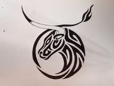 The horn and tail make the Taurus symbol.