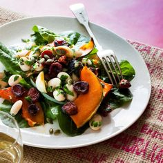 Maple Pumpkin, Garlic, Bean and Chorizo Salad