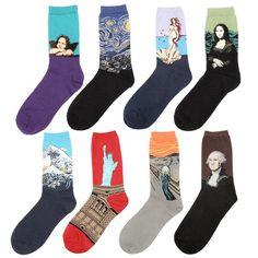 Hombres vintage art pintura abstracta patrón de calcetines de algodón de las mujeres retro moda de la calle harajuku calcetines largos al por mayor