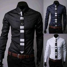 d588034a1f332 Fitted Shirts For Men Designer Plaid Stripes Pattern - Dress Shirts -  eDealRetail - 1 Plaid
