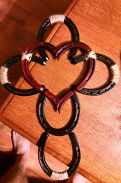 Handmade by me . Horseshoe cross and heart .