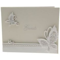 Butterfly Guest Book. A stunning wedding guest with a raised butterfly design on the front to complement any butterfly themed wedding.