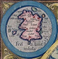 A detail of the fictional Frisland, from a 1623 map of the North Pole.