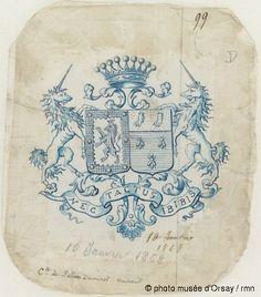 Emile Gallé -  Blason aux armes de la famille de (Fournier) de Pellan Daminet Hainaut en 1868
