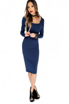 b08aeb7e321 Sexy Blue Mid Sleeve Calve Length Bodycon Dress