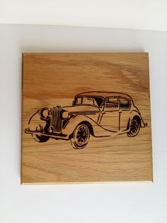 Vintage old car pyrography photo for wall by WoodBurningStudio