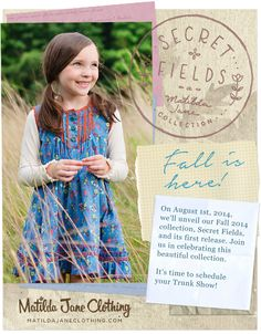 Check out these adorable pieces coming soon! #SecretFields #girlsclothing #trunkkeeper To order in my August 1st show, contact Suzie Glassman by email: suzieg@matildajaneclothing.com.