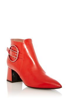 Red Calf Leather Boot by POLLINI for Preorder on Moda Operandi