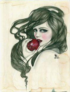 """Snow White,"" Original Mixed Media Print by JBWickedPaperDolls, via Etsy. Part of my Treasury: https://www.etsy.com/treasury/Njc0NDA2NXwyNzI0MTMyNTky/white-as-snow-red-as-blood"
