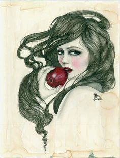"""Snow White,"" Original Mixed Media Print by JBWickedPaperDolls, via Etsy. Part of my Treasury: https://www.etsy.com/treasury/Njc0NDA2NXwyNzI0MTMyNTky/white-as-snow-red-as-blood"