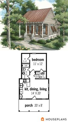 Cottage Style House Plan - 1 Beds 1 Baths 569 Sq/Ft Plan - House Plans, Home Plan Designs, Floor Plans and Blueprints Cottage Style House Plans, Tiny House Cabin, Beach Cottage Style, Cottage Style Homes, Country House Plans, Tiny House Plans, Tiny House Design, Tiny Home Floor Plans, Guest Cottage Plans