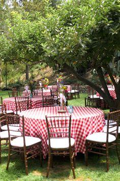Rancho Las Lomas | Wedding at Casa Bella - Photo by George Street, Elaine | red white checkered linens bistro outdoor dinner reception garden