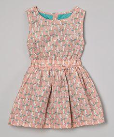 Look at this #zulilyfind! Salmon & Teal Cat Dress - Infant, Toddler & Girls #zulilyfinds