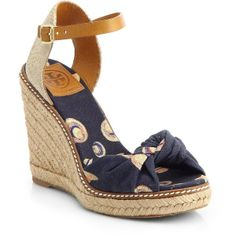 Tory Burch Macy Hat-Print Espadrille Wedge Sandals ($137) found on Polyvore - perfect for summertime sailing!!!
