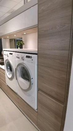 Modern Laundry Rooms, Laundry Room Layouts, Laundry Room Remodel, Laundry Room Storage, Ikea Laundry Room, Kitchen Cabinets Home Depot, Laundry In Kitchen, Compact Laundry, Laundry Room Inspiration