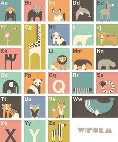 ABC poster met Nederlands alfabet - Poster (wform) | Wform | Gras onder je voeten | baby en kinderkamer.