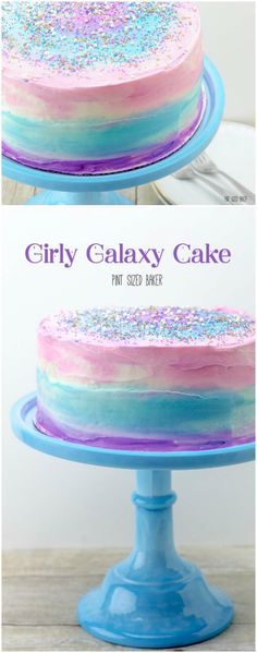 Grily Galaxy Cake Tutorial I just loved the pink blue and purple colors in this cake! Its so girly and perfect for a fun birthday party celebration. You can call it an ombre cake if youd like or yo Galaxy Party, Galaxy Cake, Galaxy Galaxy, Girly Cakes, Purple Cakes, Beautiful Cakes, Amazing Cakes, Festa Party, Birthday Cake Girls