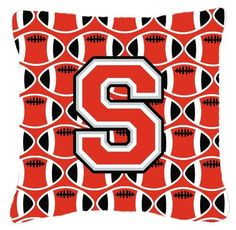 Letter S Football Scarlet and Grey Fabric Decorative Pillow CJ1067-SPW1414, Multi