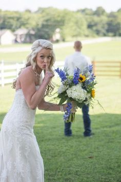 Wedding day first look photo idea! This bride is too cute {Smith Studios Photography}