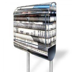 Briefkasten freistehend Stahl Design Zeitungen E 38, Golf Clubs, Design, Steel