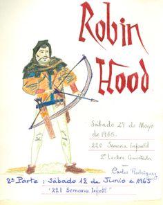 """Cartell il·lustrat per Carlos Rodríguez, per informar de l'hora del conte programada pel dia 29 de maig de 1965 en la biblioteca Pare Miquel d'Esplugues. El títol de la narració fou: """"Robin Hood"""""""