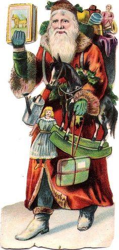 Oblaten Glanzbild scrap die cut Nikolaus  12cm santa Puppe Pferd Buch
